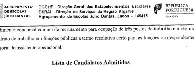 Lista Candidatos - Procedimento Concursal