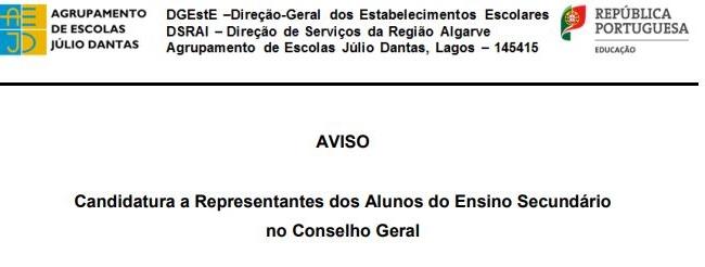Candidatura - Representantes Alunos Sec. no CG (2018)